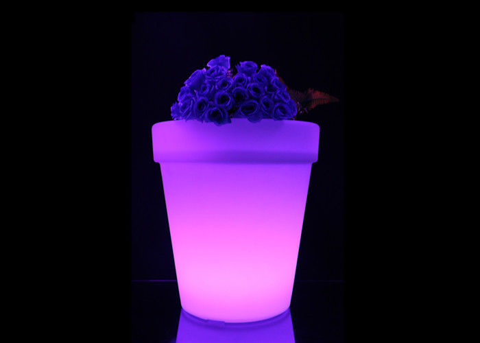 Plastic Plant Container Light Up Furniture , Rechargeable Led Bar Furniture